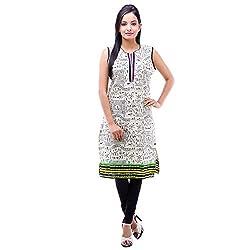 Kyaara Womens Cotton Ethnicwear Kurta (Ky00474G_L_Off-White)