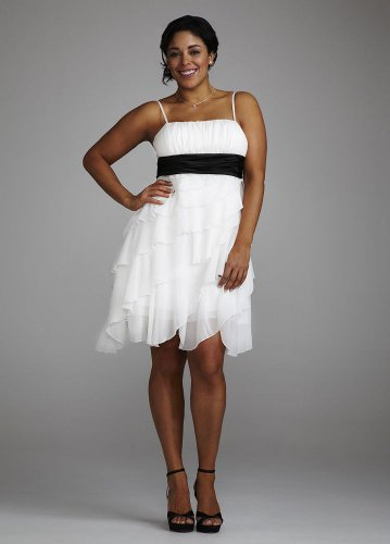 David's Bridal Short Chiffon Dress with Tiers and Rouched Waist Style VCSYD132W onSale
