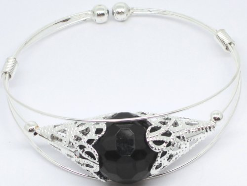 Black Bead Silver Coloured Expanding Metal Alloy Bangle