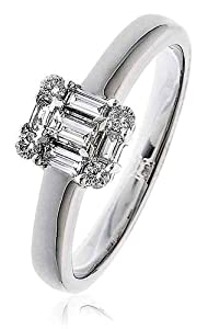 0.30CT Certified G/VS2 Baguette and Round Brilliant Cut Claw Set Diamond Ring in 18K White Gold
