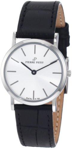 Pierre Petit P-788B - Reloj analógico de cuarzo para mujer con correa de piel, color negro