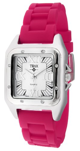Trax Women's TR5132-WF Posh Square Fuchsia Rubber White Dial Watch