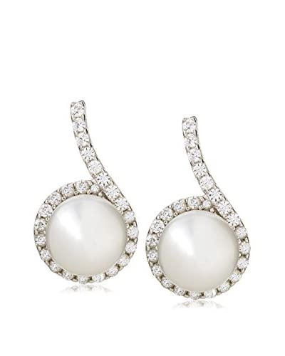 Radiance Pearl 8mm White Freshwater Cultured Pearl & Crystal Earrings