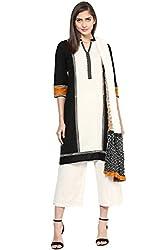 Trishaa by Pantaloons Women's Straight Kurta Dupatta ( 205000005652130, Black, Medium)
