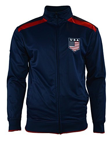 USA US Jacket Adult Track Soccer Adult Sizes Soccer Football (BLUE J1Q15, L) (America Soccer Jacket compare prices)