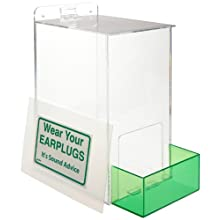 "Brady PD439G 13"" Height, 12"" Width, 8"" Depth, Acrylic, Green On Clear Color Large Capacity Ear Plug Dispenser, Legend ""Wear Your Earplugs (With down arrow)"""