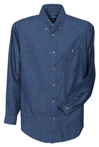 Tri-Mountain Mens Denim Long Sleeve Shirt. 829 - Medium Indigo_2Xlt front-886986