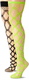 MUSIC LEGS Womens 2 Pack Multi Fence Net Thigh Hi