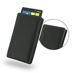Nokia Lumia920 Leather Case - Vertical Pouch Type (NO Belt Clip) (Black) by PDair by PDair
