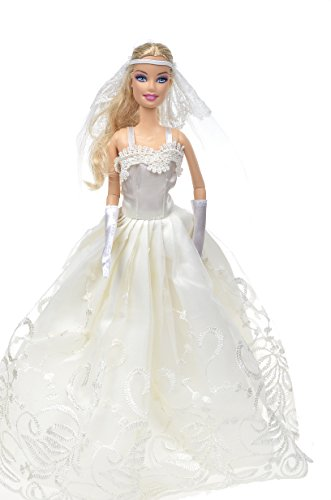 Banana Kong Spaghetti Strap Classic White Wedding Dress For Doll - 1