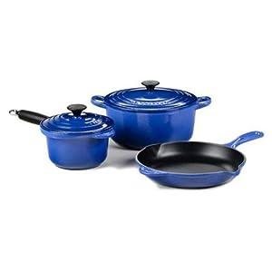 Le Creuset 5-Piece Essential Cast Iron Cookware Set (Cobalt)