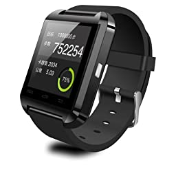 DREAMUS®HOT!!! U8 Bluetooth Smart Wristband Watch Phone for Android Samsung S2/S3/S4/S5/Note 2/Note 3 HTC...(IOS System and Blackberry System Can Use Partial Function) (Black)