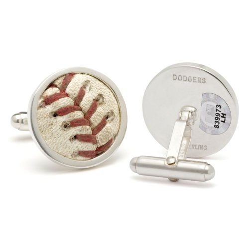 Tokens & Icons MLB Game-Played Baseball Sterling Silver Cufflinks - Los Angeles Dodgers Baseball Cuff Links (7D)