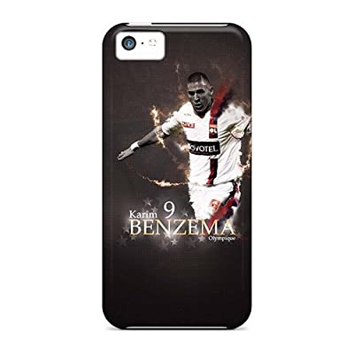 Top Quality Rugged Real Madrid Karim Benzema On Black Background Case Cover For Iphone 5c