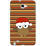 For Samsung Galaxy Note N7000 :: Samsung Galaxy Note I9220 :: Samsung Galaxy Note 1 :: Samsung Galaxy Note GT-N7000 Funny Cartoon Santa Bird ( Funny Cartoon Santa Bird, Santa Bird, Multiple Pattern, Bird, Cartoon, Stripes ) Printed Designer Back Case Cove