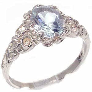 Luxurious Solid 9K White Gold Natural Aquamarine Womens Solitaire Engagment Ring - Size 7 - Finger Sizes 4 to 12 Available