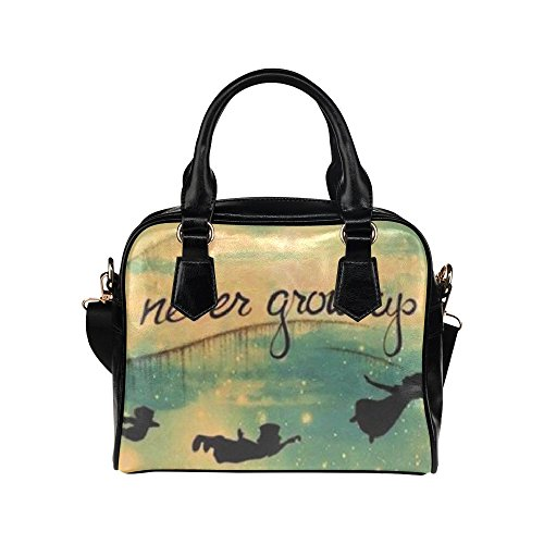 deardaling Never Grow Up Peter Pan Custom Leather Handbag Shoulder Bag for Women(Twin Sides) (Peter Pan Bag compare prices)