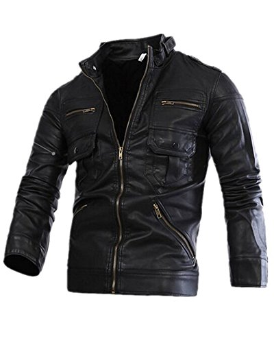 Hzcx Fashion Men's Vintage Stand Collar Zipper Motorcycle PU Leather Jackets (L, Black)