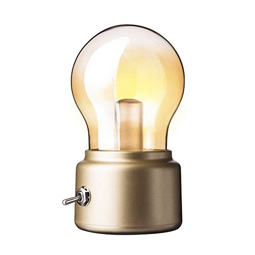 niceEshop(TM) Romantic Bulb Mood Lamp Night Light USB Charging LED Bedside Lamp for Bedroom, Living Room, Baby Room, Coffee Table, Bookcase(Golden)