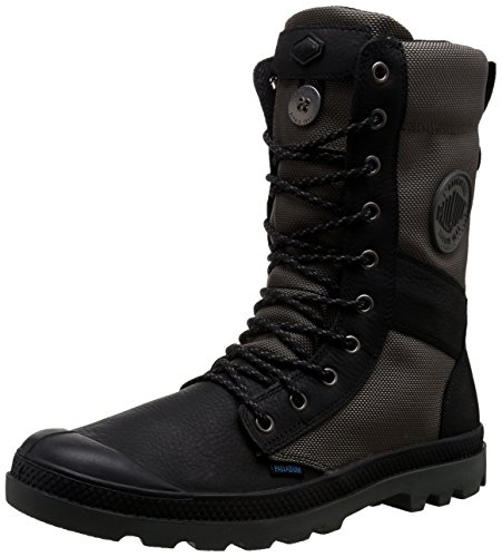 Palladium Men's Tactical WPN Zip Rain Boot, Black/Metal, 10