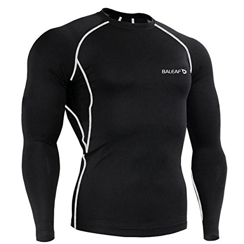Baleaf Men's Long Sleeve Running Fitness Workout Compression Shirt Color Grey Size XL