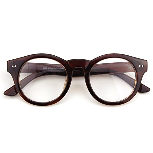 Happy Store CN85 Large Round Horn Rimmed Riveted Clear Fashion Eye Glasses,Brown
