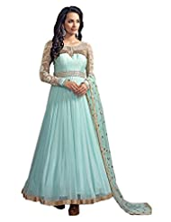 Arpi Fashion Women Georgette Semi-Stitched Dress (Sky Blue)