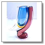 Murano Glass Mouth Blown Art Surrounding Sommerso Vase