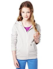 Pure Cotton Hooded Zip Through Sweat Top
