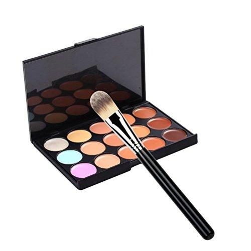 LEORX 15 colori Concealer Palette trucco contorno viso crema Palette con il pennello piatto