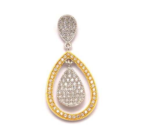 Gold and White Pear Drop Pendant
