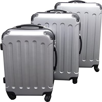 Set of 3 Super Lightweight Hard Plastic Silver Luggage Trolley Suitcases Wheels by KD & Jay