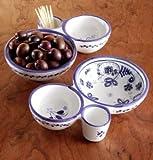 El Puente del Arzobispo Blue Flor Handpainted Ceramic Olive Dish
