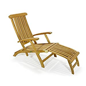 Barbuda Captain Steamer Teak Lounge Chair With Canvas Color Cush