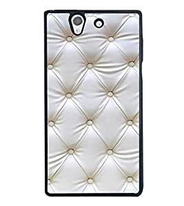 White Leather Design 2D Hard Polycarbonate Designer Back Case Cover for Sony Xperia Z :: Sony Xperia C6603 :: Sony Xperia C6602 :: Sony Xperia Z LTE, Sony Xperia Z HSPA+