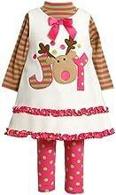 Bonnie Jean Girls Joy Reindeer Dress Set