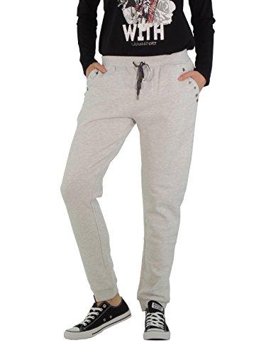 Liu Jo pantalone in cotone felpato T65009F0252 (L, GRIGIO PERLA)