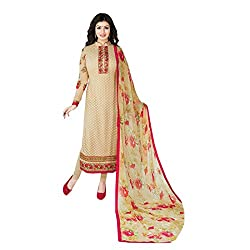 Swasti Fabrics Innovative Embroidery Work Light Brown Georgette Long Salwar Suit
