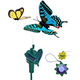 HQRP Pair of Solar Powered Flying Fluttering Butterflies Yellow Monarch and Blue Swallowtail for Garden Plants Flowers plus HQRP UV Chain / UV Radiation Health Meter