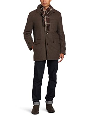 London Fog Men's Lynwood Car Coat, Mocha Heather, Large