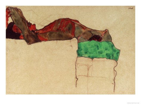 Reclining Male Nude with Green Cloth, 1910 Giclee Print (12 x 9 in)