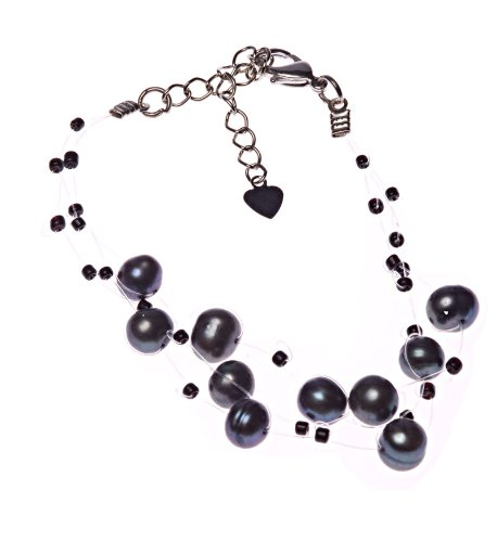 Oi! Grey Fresh Water Pearl Bracelet with Black Glass Beads on Translucent Wire