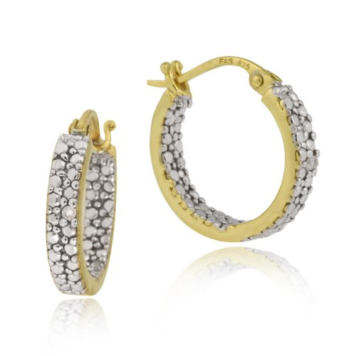 18k Yellow Gold Plated Sterling Silver Diamond-Accent Small Hoop Earrings (0.6