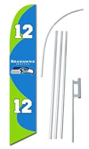 """""""Seattle Seahawks 12th Man"""" 12-foot SUPER Swooper Feather Flag With Heavy-Duty 15-foot Pole and Ground Spike"""