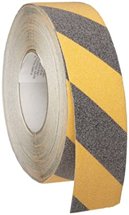 "Brady 60' Length, 2"" Width, B-916 Grit-Coated Polyester Tape, Striped Special Black And Yellow Color Anti-Skid Tape"