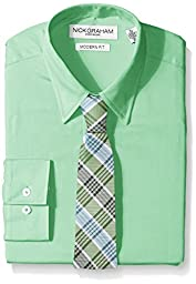 Nick Graham Everywhere Men\'s Solid Dress Shirt with Green Plaid Tie, Green, Small/Regular