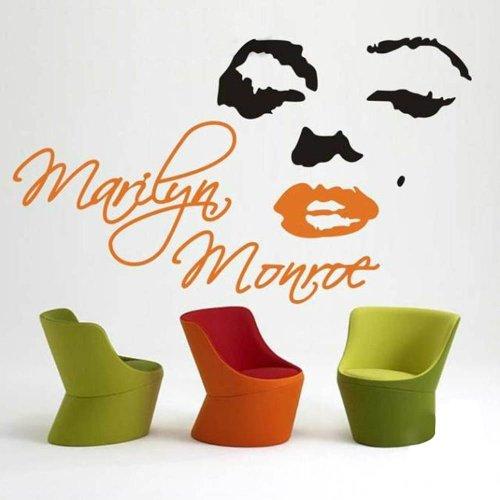 Marilyn Monroe Head Portrait Sticker Decal Home Decor For Living Bed Room Study Bar Caf¨¦, Black + Orange, L front-593950