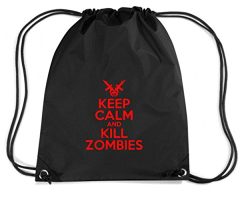 T-Shirtshock - Zaino Zainetto Budget Gymsac TZOM0043 keep calm and kill zombies white, Taglia Capacita 11 litri