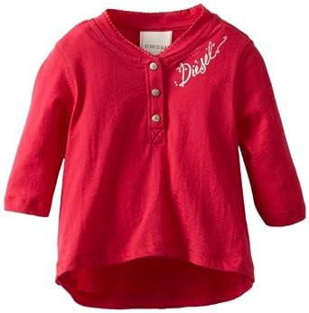 Diesel Baby-Girls Infant Tuivanb Long Sleeve Jersey Cotton Shirt, Magenta, 3 Months