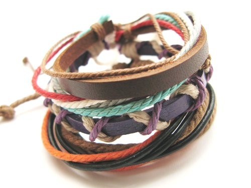 Unisex mens womens urban surfer leather and cord triple stack Bracelets